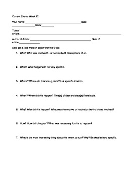 Current Events Analysis Worksheets