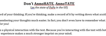 Current Events: Annotate Don't AnnHATE