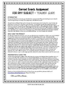 Current Events Assignment for ANY Subject | Handout, Rubric, and Example