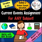 Current Events Assignment for ANY Subject | Handout, Rubri
