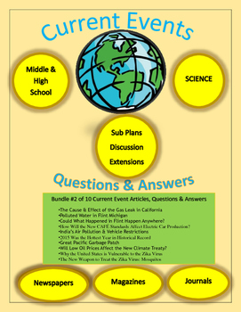 Current Events Science:10 Current Events Bundle #2: Articles,Questions,Answers