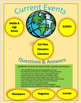 Current Events Science: 10 Current Events Bundle #3: Articles,Questions,Answers