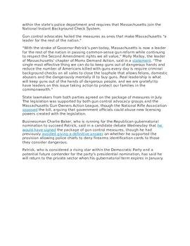 Current Events Close Read:  2nd Amendment Gun Laws