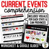 Current Events Comprehension Worksheet & Google Slides