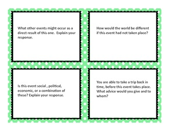 Current Events Critical Thinking Task Cards-Set 20