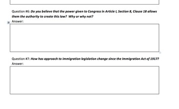 Current Events DBQ - Immigration & The Three Branches of Government