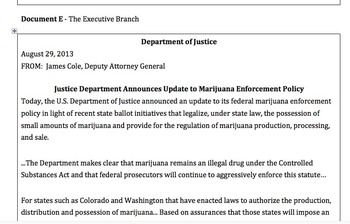 Current Events DBQ - Medical Marijuana & The Three Branches of Government