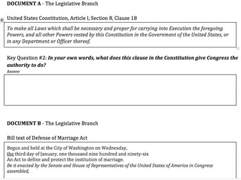 Current Events DBQ - Same sex Marriage & Three Branches of Government