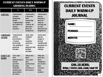 Current Events Daily Warm-Up Journal