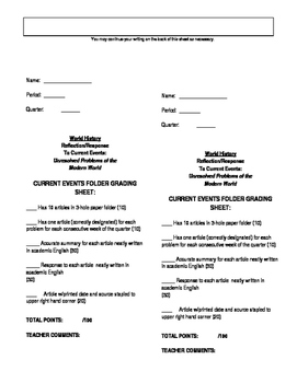 Current Events Form and Grading Sheet