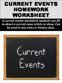 Current Events Homework Worksheet