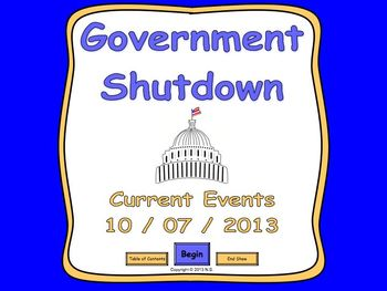 Current Events Lesson - Government Shutdown 2013