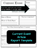 Current Events / Nonfiction Article Report Template