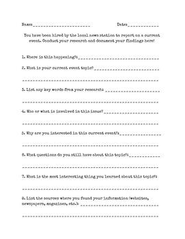 Current Events Questionnaire