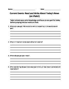 Current Events: Read and Write About Today's News (on iPads!)