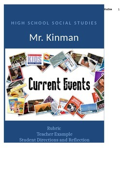 Current Events  Rubric, Directions, Example, and Student Reflection Sheet