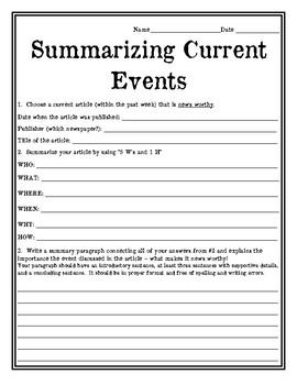 Current Events Summarizing News Article Worksheet Current Events Worksheet News