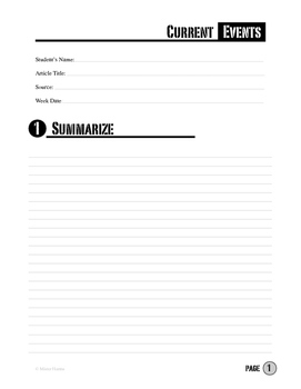 Current Events News Article Summary Analysis Template By Mister Harms