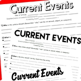 Current Events (Who, What, When, Where, Why) Worksheet Pack
