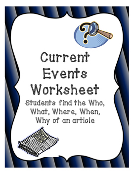 Current Events Worksheet by Inspire Yourself | Teachers Pay Teachers