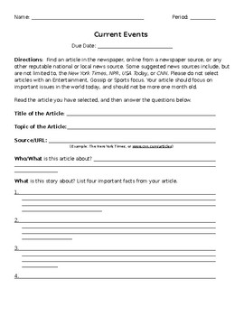 14 Best Images of Current Events Report Worksheet - Call ...  Current Events Worksheet Pdf