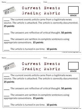 Current Events Worksheet Grading Rubric