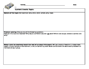 Current Events Worksheet and Activity