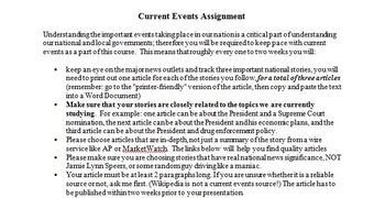 Current Events and Government Assignment