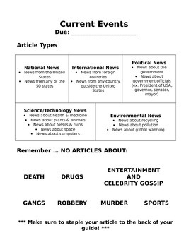Current Events guide