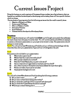Current Issues Project (Global Topics, Current Events)