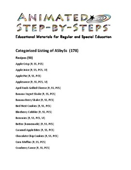 Current Listing of Available Animated Step-by-Steps®