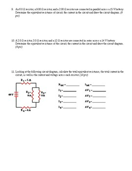 Current, Resistance, and Electrical Circuits Test