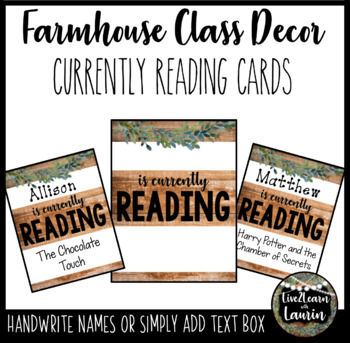 Currently Reading Cards (Farmhouse Theme)