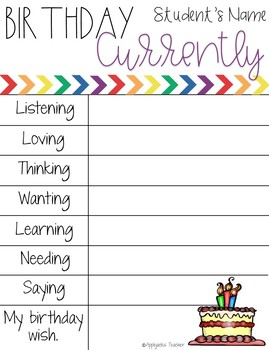 Currently Writing Activities for the Year - Editable
