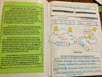 Currents and Circuits Reading Comprehension Interactive Notebook