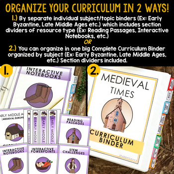 Curriculum Binder Covers, Spines, Tabs, Dividers | Medieval Times Free