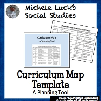 Curriculum Calendar Or Map Template By Michele Lucks Social Studies