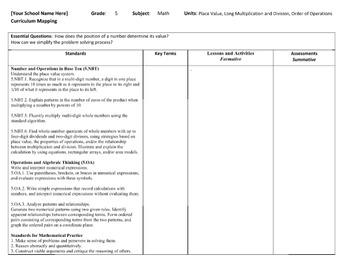 Curriculum Map Common Core Math Grade 5
