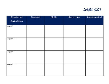 Curriculum Map Planner
