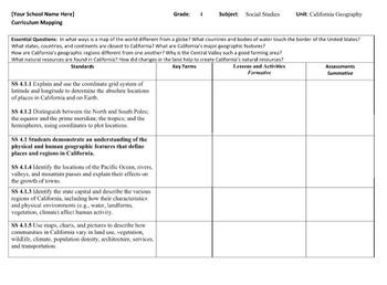 Curriculum Map Social Studies Grade 4 California
