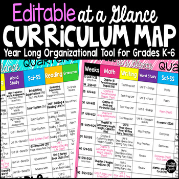 year at a glance template for teachers - curriculum map template editable at a glance organizer by
