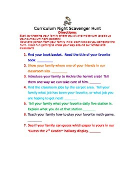 Curriculum Night Activity