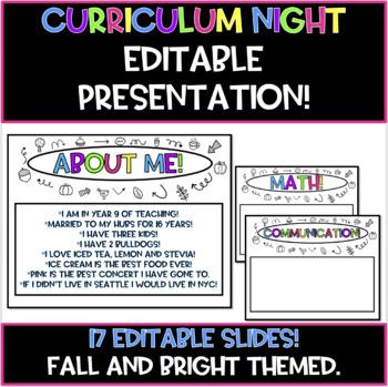 Back to School Night/ Open House Presentation!  EDITABLE! (Fall/Bright Theme!)