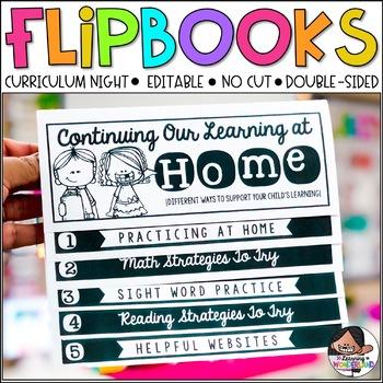 Curriculum Night | Editable Flip Book | No Cut Flipbook