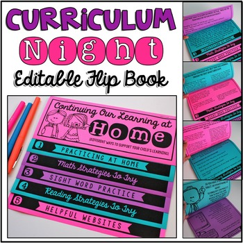 Curriculum Night - Editable Double-Sided Flip Book {No Fus
