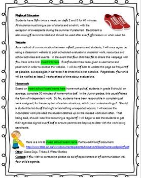 Curriculum Night Handout - EDITABLE