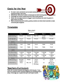 Curriculum Night Handout - Editable