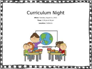 Curriculum Night Invitation
