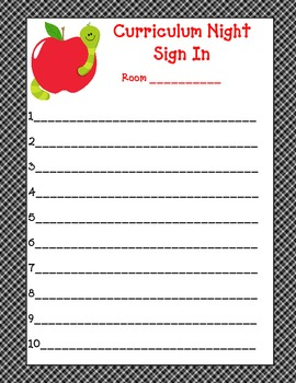 Curriculum Night Sign in Sheet and water bottle wraps Pre-