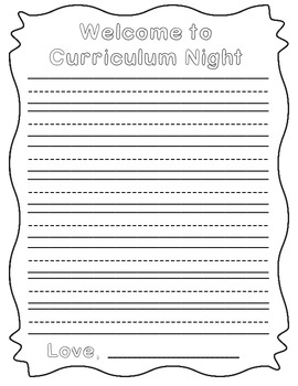 Curriculum Night Student/Parent Writing